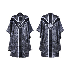 Black Gothic Chasuble & Traditional Mass Vestment Set  (Chalice Veil, Maniple, Burse & Stole) LINED