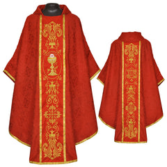 Embroidered Gothic Vestment & Mass Set  (Chalice Veil, Maniple, Burse & Stole) LINED