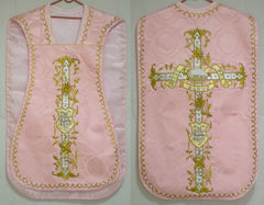 Embroidered Fiddleback Vestment Set $550 (includes Chasuble, Chalice Veil, Maniple and Burse)