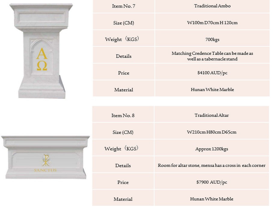 Marble Altars, Credence Table, Baptismal Fonts & Ambos