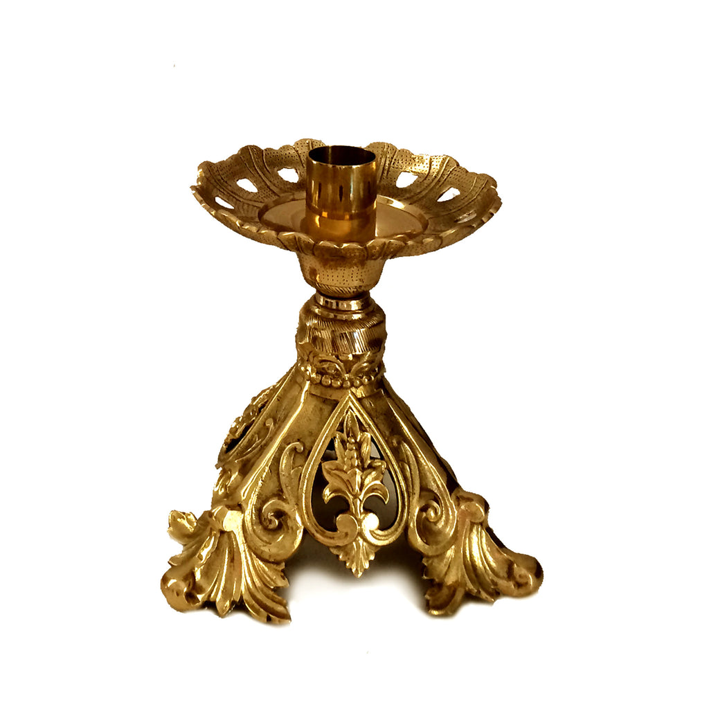 Altar Candlestick Holder, Short Ornate Floral Design