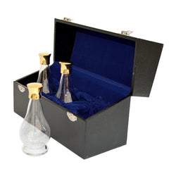 Glass Cruet set of 3x oil stocks, including carry box