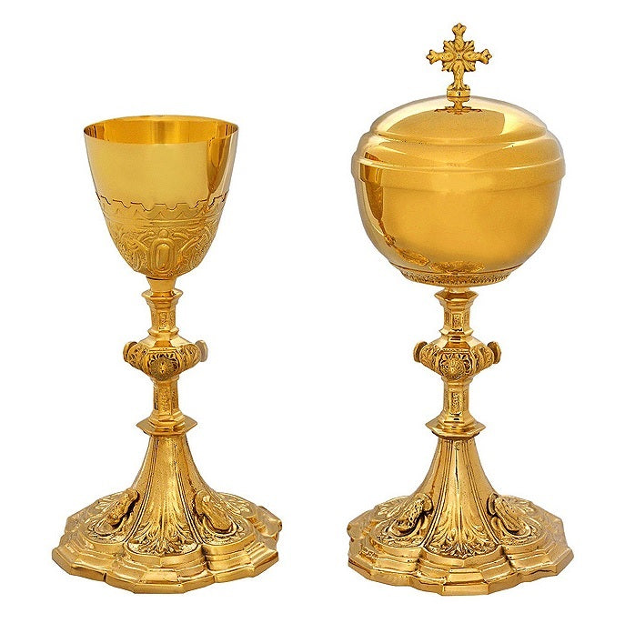 "Set: Ornate Ciborium, Chalice & 5"" Paten"