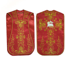 Intricate Fiddleback Vestment Set (includes Chasuble, Chalice Veil, Maniple and Burse)
