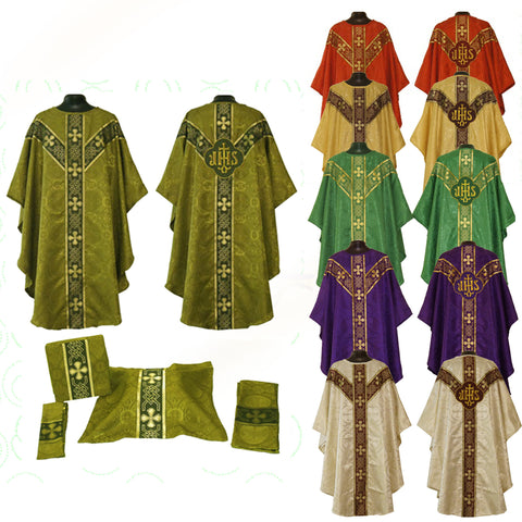 Gothic Vestment & Mass Set  (Chalice Veil, Maniple, Burse & Stole) LINED