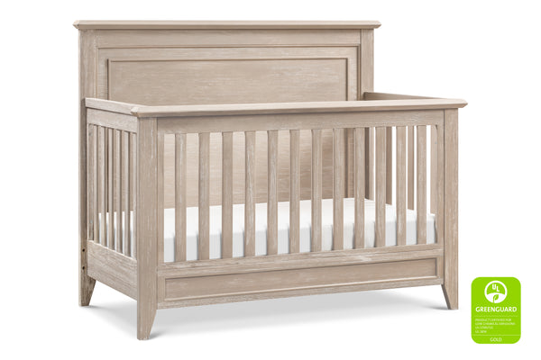 beckett rustic 4-in-1 convertible flat top crib in sandbar greenguard certified by franklin and ben