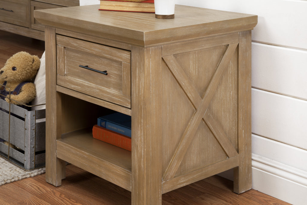 B14560DF,Emory Farmhouse Nightstand in Driftwood Finish