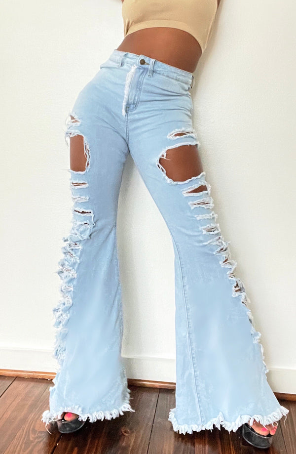 Distressed Flare Denims