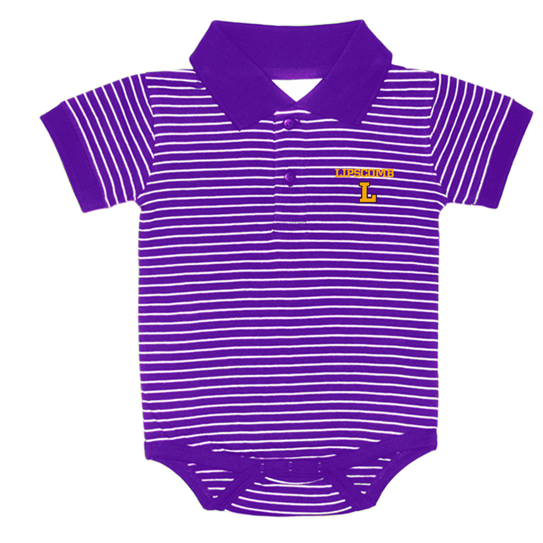 Infant Stripe Golf Onsie, Purple