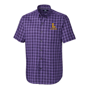 Cutter & Buck Men's Short Sleeve Button Up Fremount, College Purple