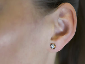 Diamond Flower Gold Stud Earrings