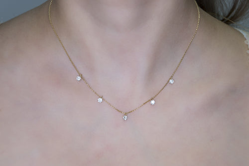 Classic and Elegant Diamond Necklace with Five Round Brilliant Cut Diamonds