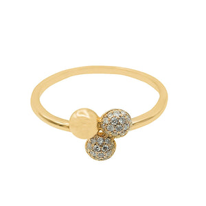 Classic Trio Ball Diamond Gold Ring