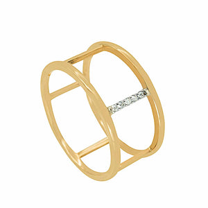 Geometric Parallel Lines Diamond Gold Ring