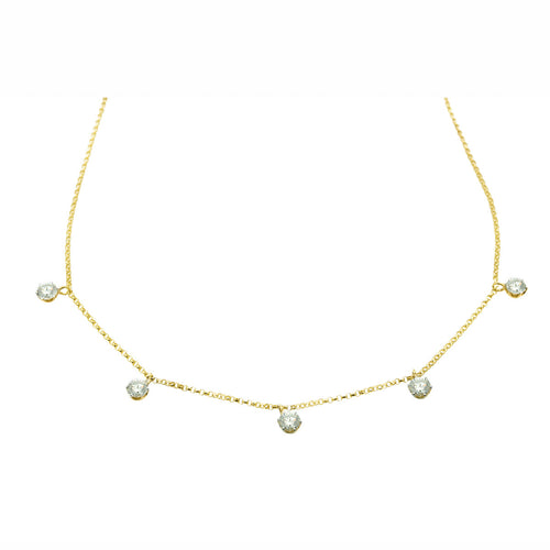 Classic and Elegant Necklace features Five Round Brilliant Cut Diamonds