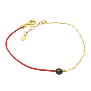 Classic Lucky Knot Red Knit Bracelet with Black Diamond