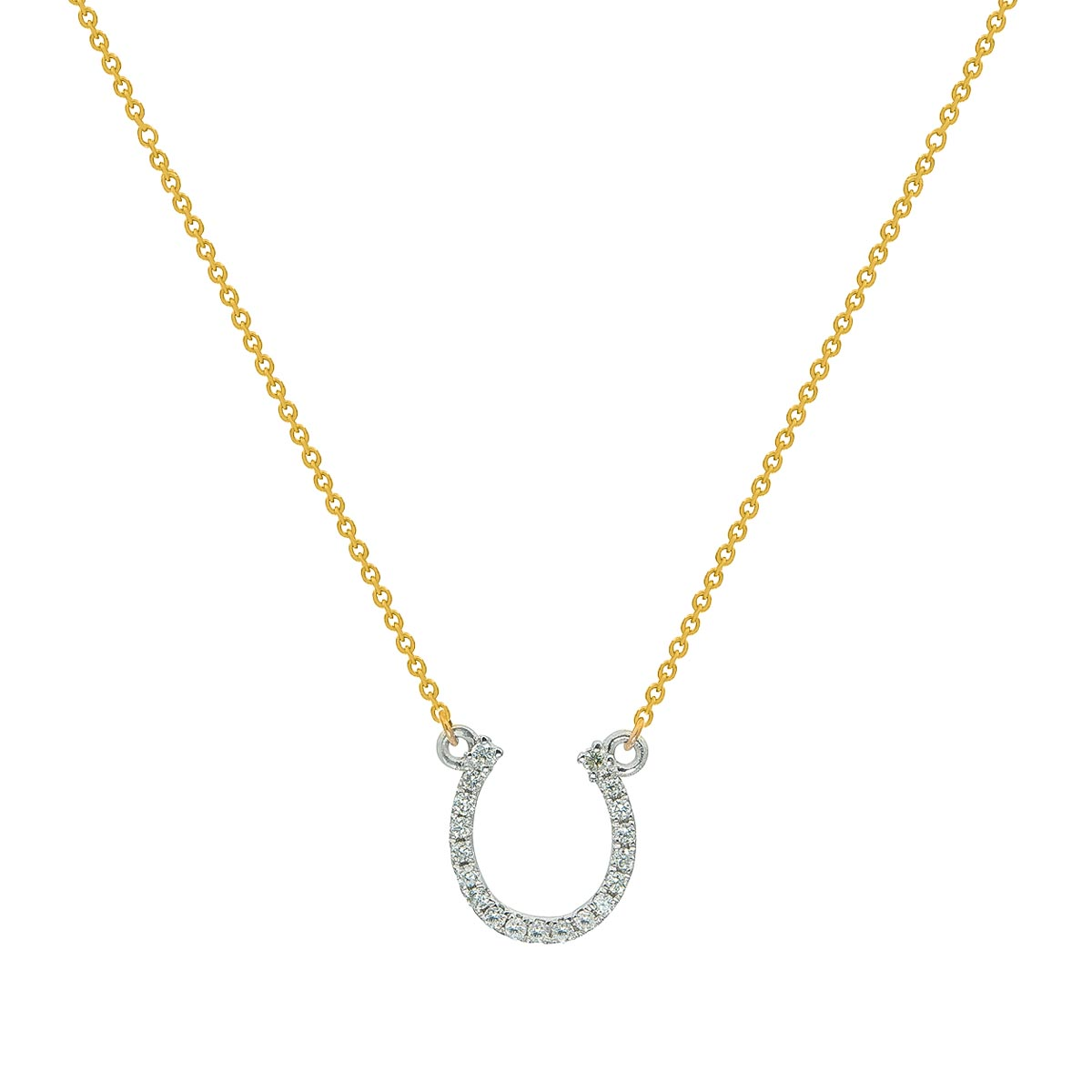 Classic Good Luck Horseshoe Shaped Diamond Pendant with Gold Chain