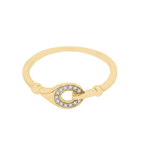 Classic Hook Diamond Gold Ring
