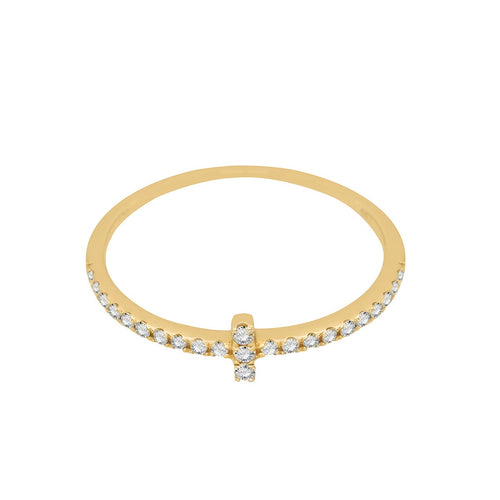 Classic Cross-Shaped Diamond Gold Ring
