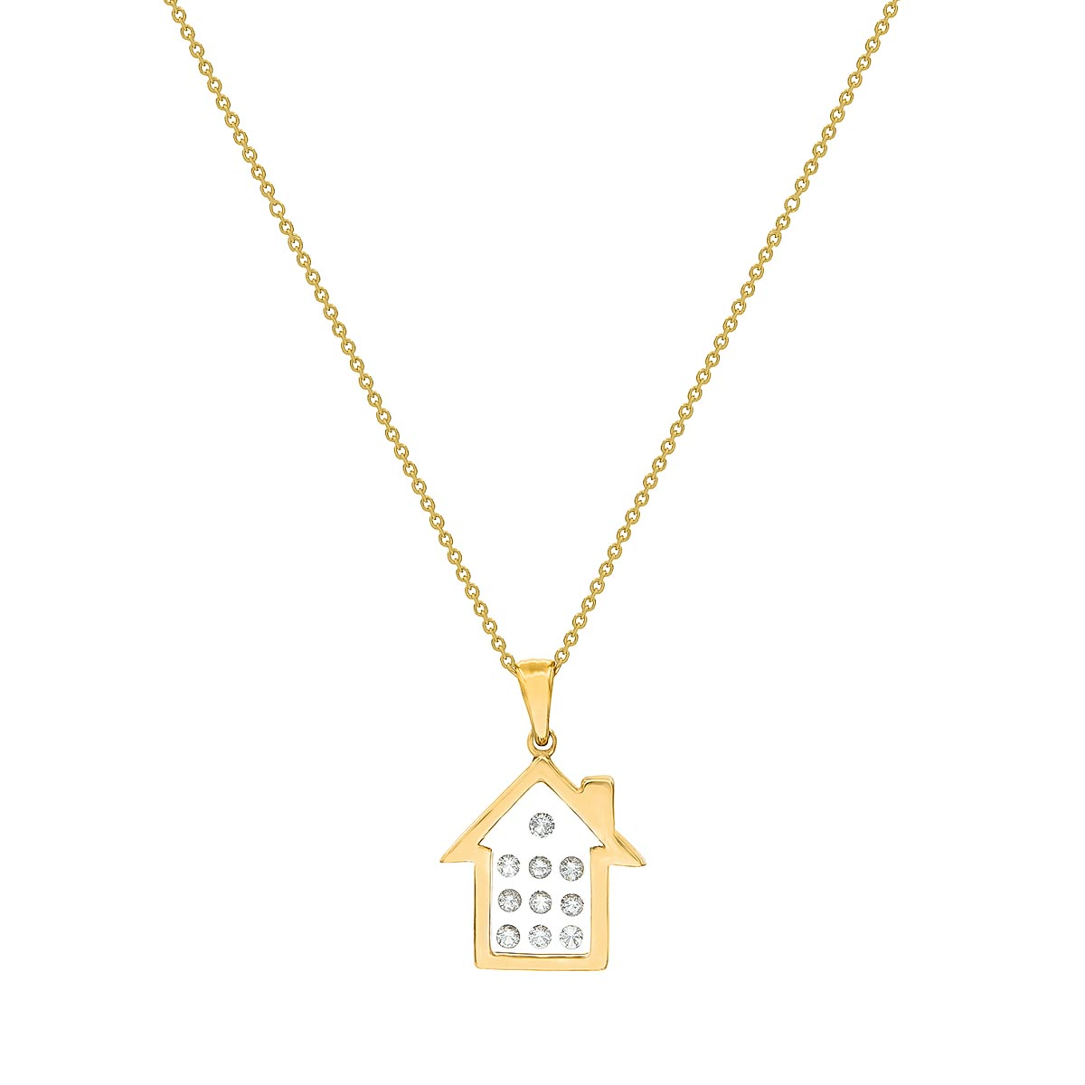 Floating Diamonds Gold Charm Pendant Home Shaped