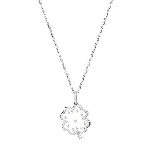 Floating Diamonds Four Leaf Clover Charm Gold Pendant