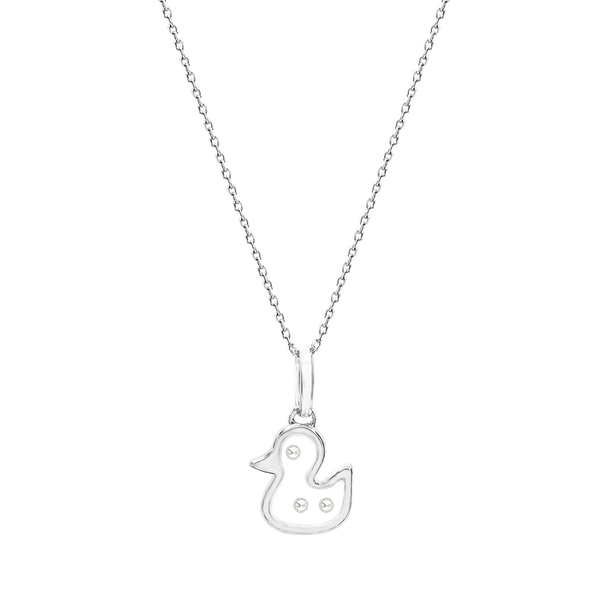 Floating Diamonds Gold Duckling Charm Pendant