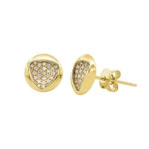 Geometric Trinity Circle Diamond Stud Gold Earrings