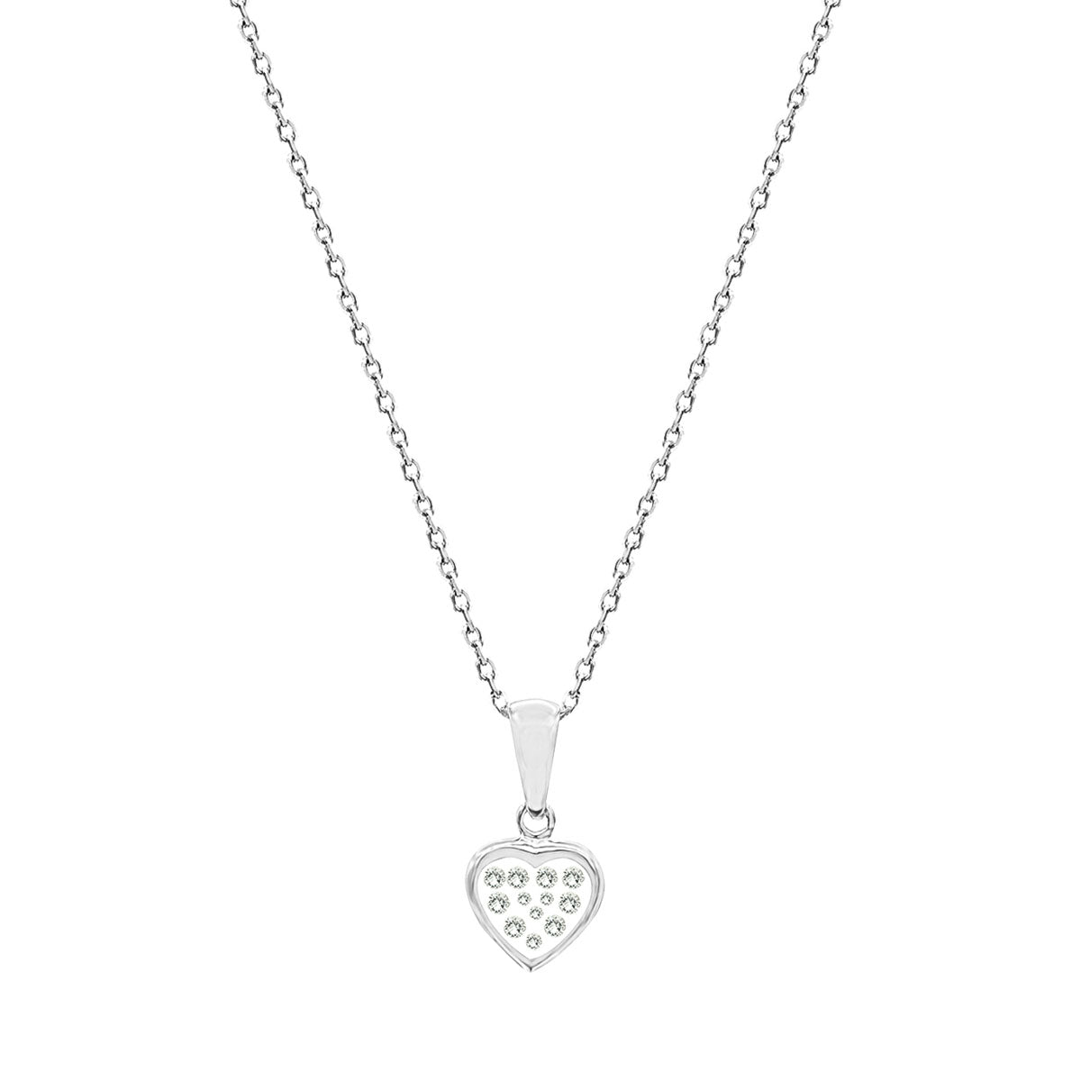 Floating Diamonds Heart Charms Pendant