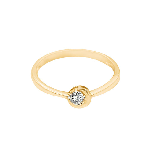 Classic Half Moon Diamond Gold Ring