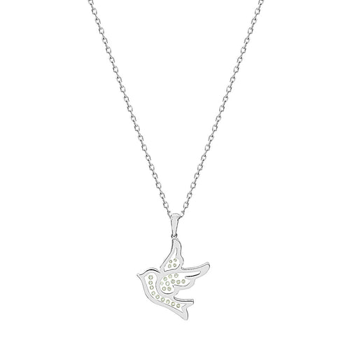 Floating Diamonds Love Bird Gold Charm Pendant