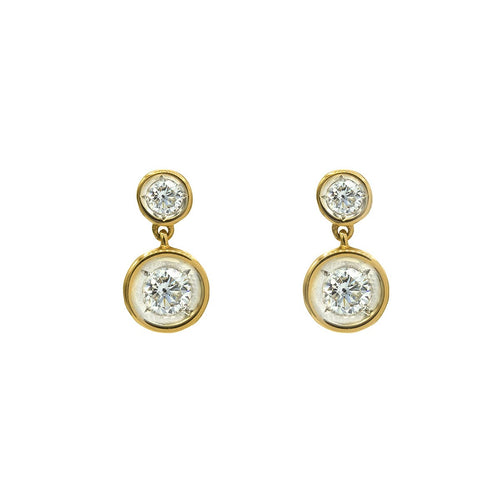 Classic Button Drop Bezel Diamond Gold Stud Earrings