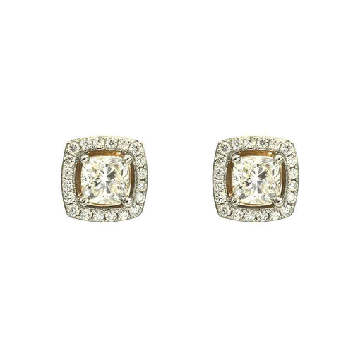 Cushion Cut Diamond Stud Earrings with Diamond Halo