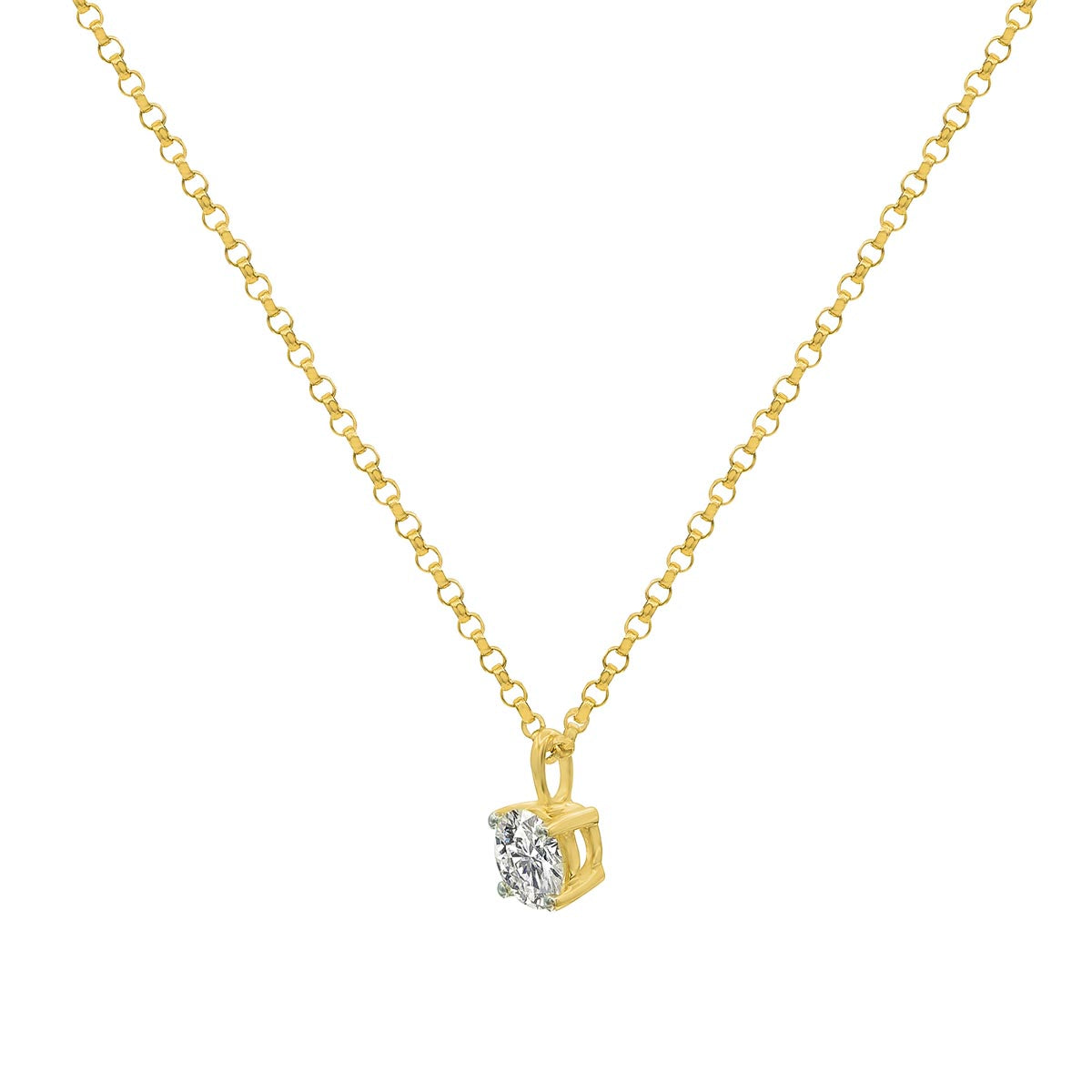 Classic Round Cut Diamond Four Prong Gold Pendant