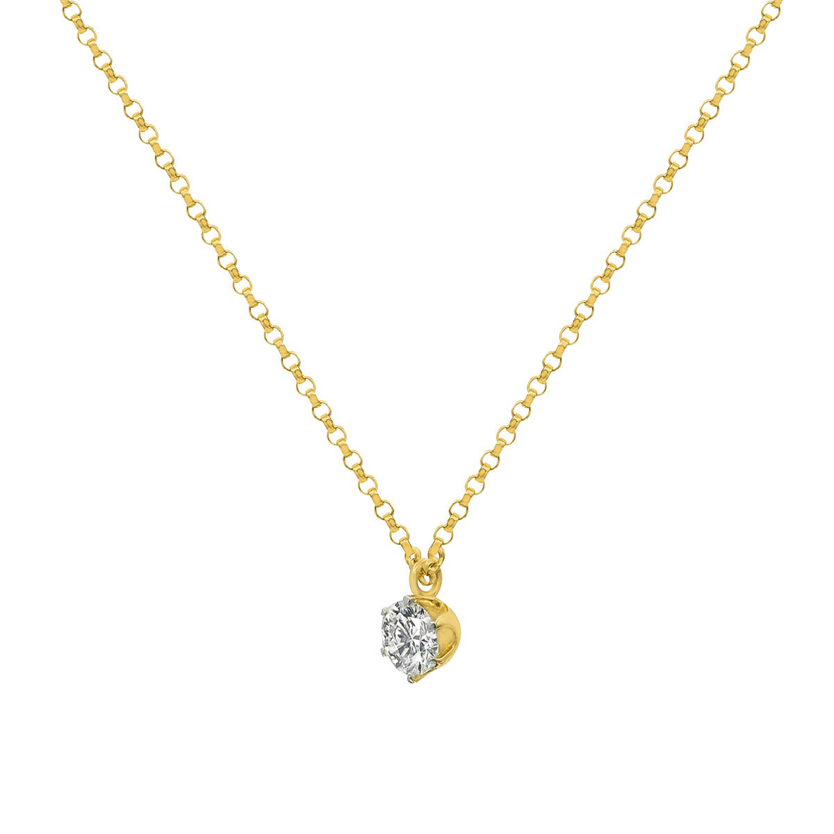 Classic Round Cut Diamond Five Prong Gold Pendant