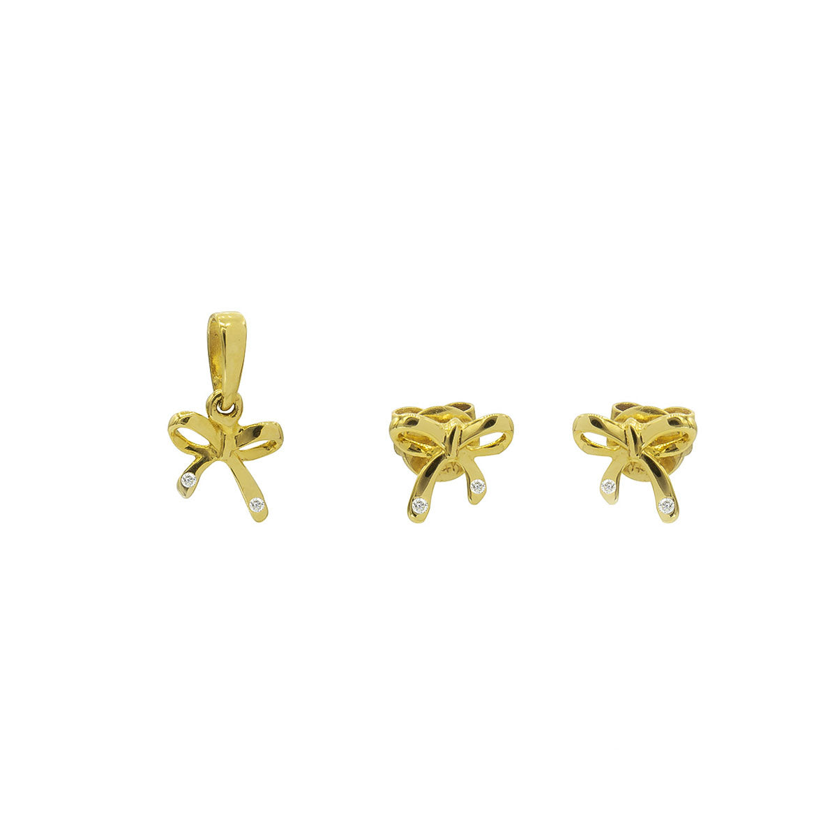 Kids Bow Diamond Gold Pendant