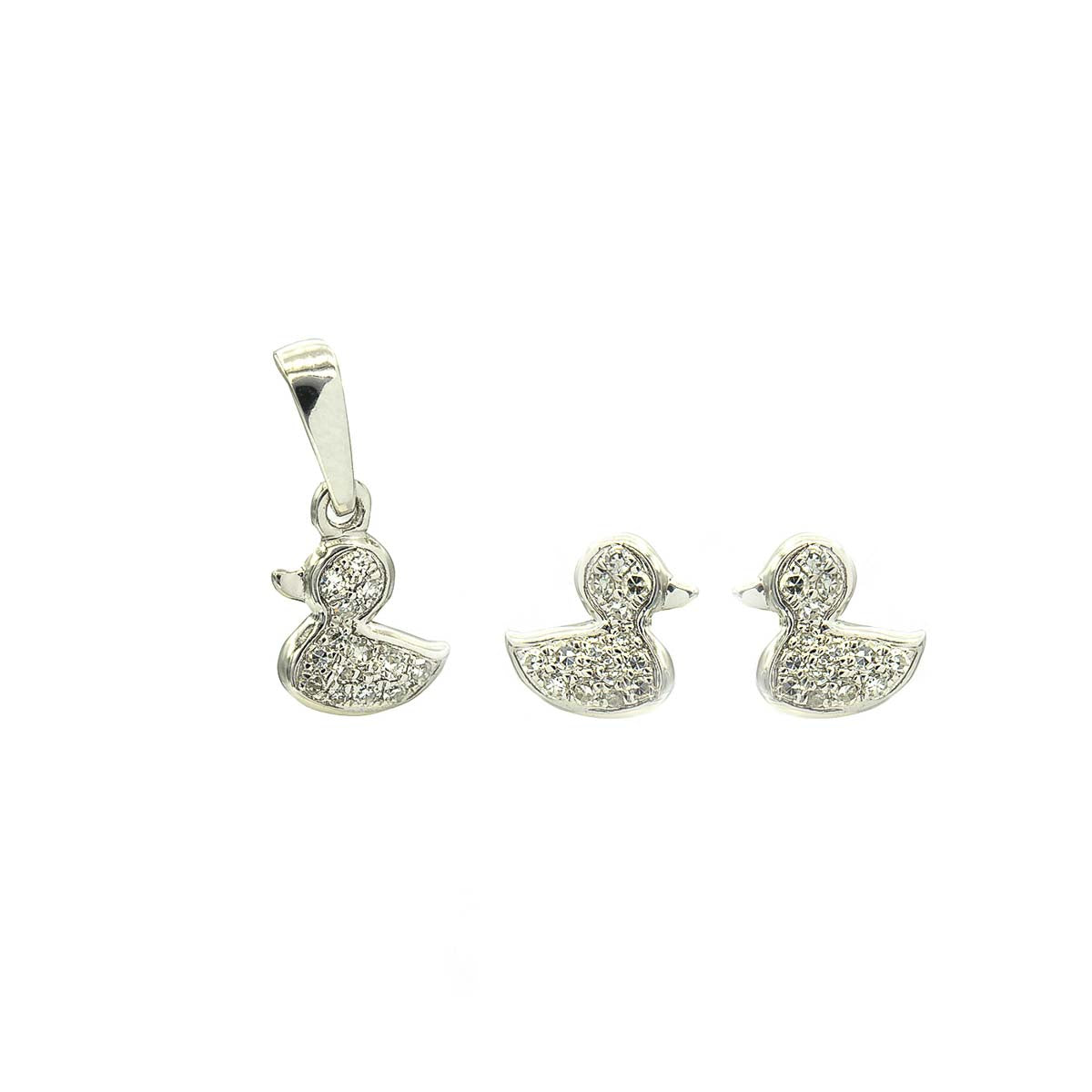 Kids Ducks Diamond Stud Earrings