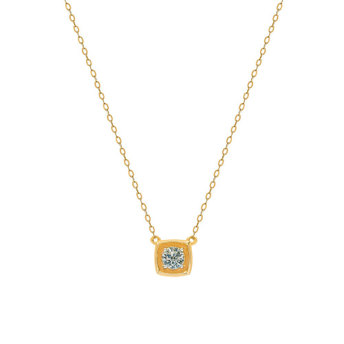 Classic Brilliant Bezel Diamond in Square-Shaped Pendant