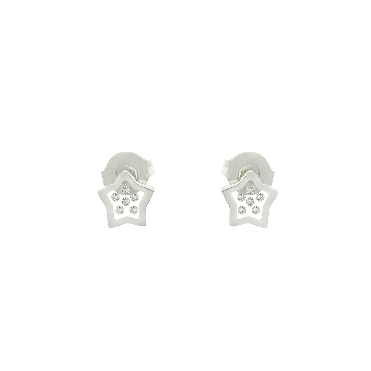 Floating Diamonds Stud Gold Earrings Star Shape