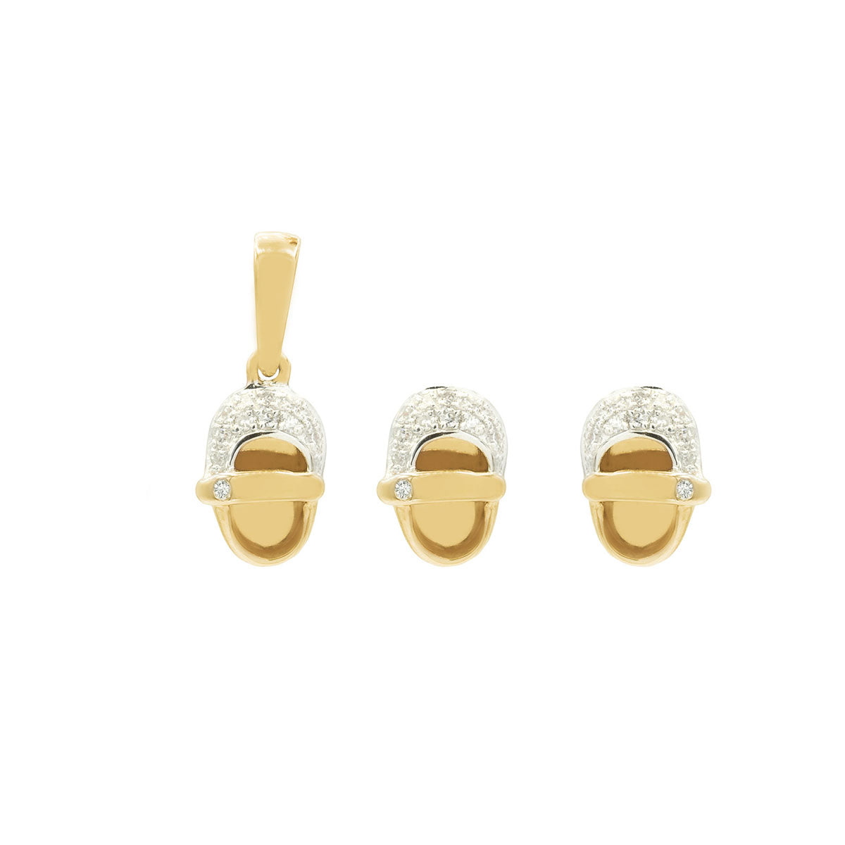 Kids Baby Shoes Diamond Gold Pendant