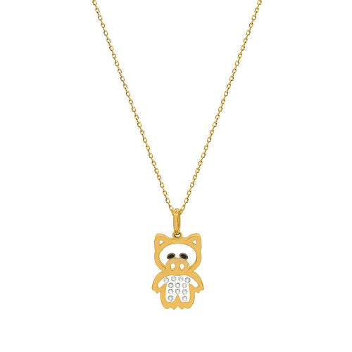 Floating Diamonds Little Piggy Gold Charm Pendant