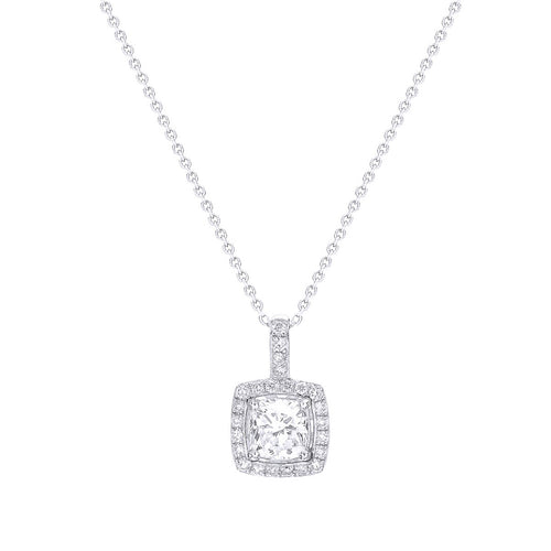 Classic Cushion Cut Diamond Halo Pendant Without Chain