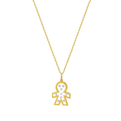 Floating Diamonds Little Baby Boy Gold Charm Pendant
