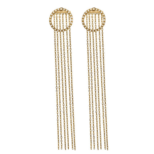 Chic-Chic Diamond Circle Long Earrings