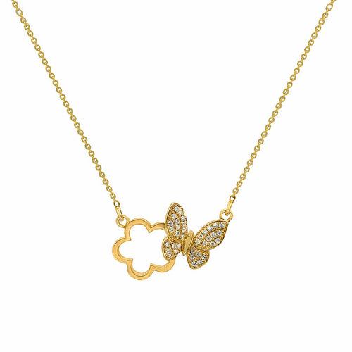 Classic Butterfly and Flower Diamond Pendant