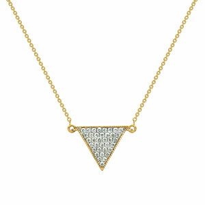 Geometric Triangle Pave Diamond Gold Pendant with Gold Chain