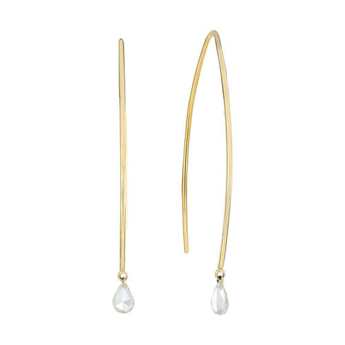 Unique Naked Drop Shape Diamond Long Earrings