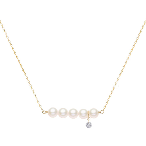 Classic Five Pearl and Naked Diamond Necklace