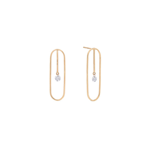 Paper Gold Clip Diamond Earrings