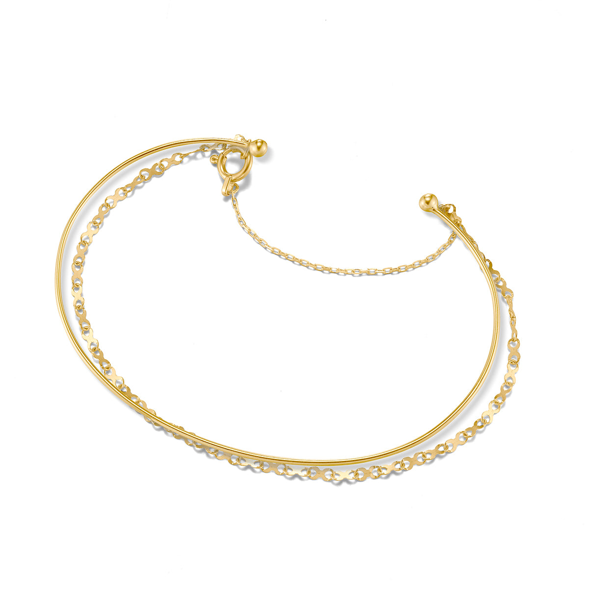 Classic Infinity Gold Bangle with Safe Lock