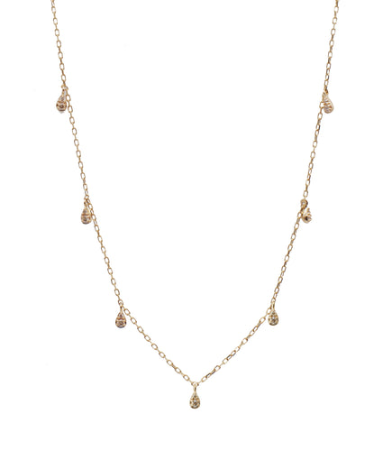 Seven Diamond Drop Necklace